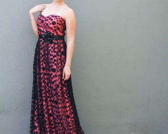 Polka Dot Prom Dress Strapless Gown Coral Satin Black Polka Dots Long Evening Dress Wedding Guest Prom Quinceanera