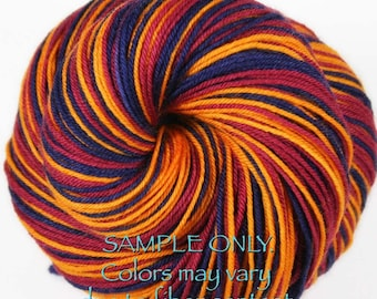 """Dyed to Order: Self striping sock yarn - """"WINE-GOLD-BLUE"""" - Sports inspired - Hand dyed - Sports Team / School colors yarn - Cleveland"""