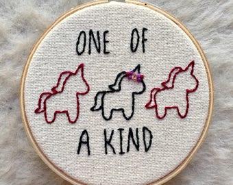 "One Of a Kind Unicorn 4"" Embroidery Hoop"