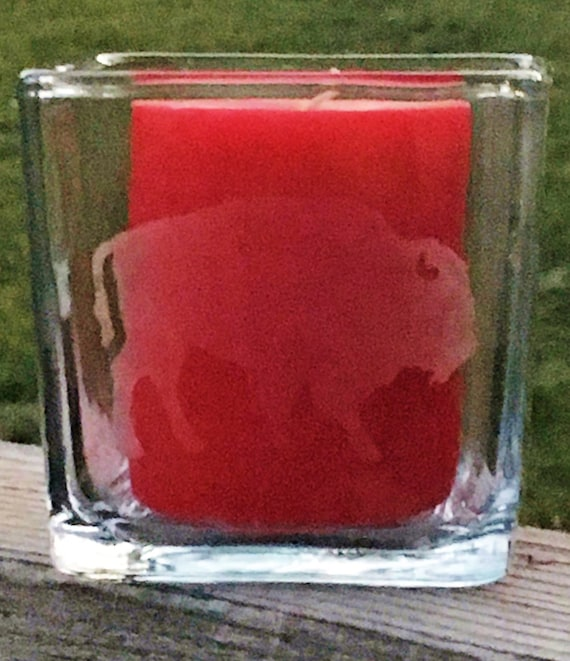 Buffalo Etched Glass Candle Holder, Bison, Buffalo, Western, Wedding Gift