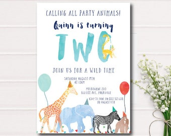 Calling All Party Animals Birthday Invitation, Zoo birthday invitation, safari animals color, printable invitation, Animal Parade Birthday