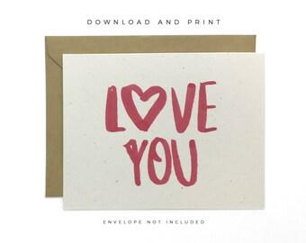 Printable Love You Card, Love Card, Valentine's Day Card