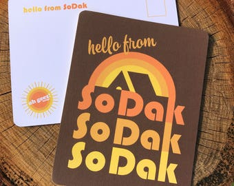 SoDak Retro Postcards - South Dakota Postcard Set of Ten - Hello From SoDak Retro Camping Set of Ten Postcards  by Oh Geez! Design