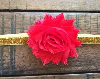 Shabby Chic Red Flower on an Gold Glitter Elastic Headband, baby headband, girl headband, Valentines Headband, Sweetheart Headband