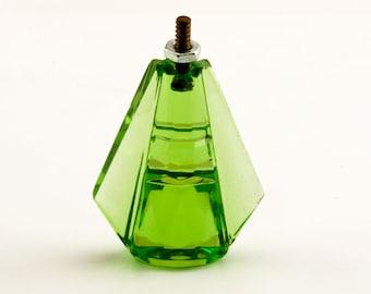 "2 Rare Glass Knobs, Vintage Art Deco, Peridot Green, Unusual Elegant Faceted Drawer Pulls, 1 1/8"" x 3/4"" (28mm x 10mm)"