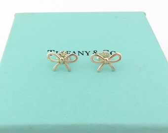 Authentic Tiffany & Co Sterling Silver Bow Ribbon Earrings