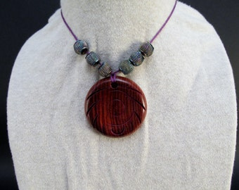 Necklace with beads hand made Burmese Rosewood