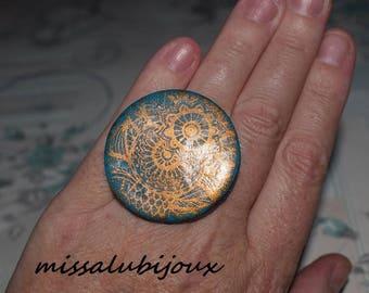 large xxl Fimo serigrafiee Adjustable ring sizes
