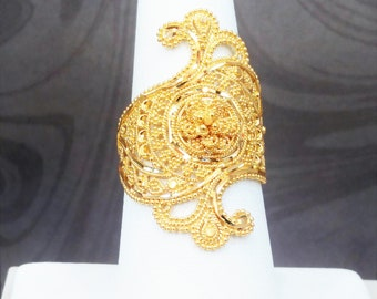 GOLDSHINE 22K Solid Yellow Gold RING Size 8 (US/Canada) Genuine & Hallmarked 916, Stunningly Intricate and Handcrafted
