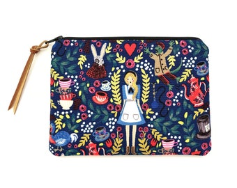 Alice in Wonderland Pouch - Navy Blue Pouch - Alice in Wonderland Gifts - Small Zipper Bag - Women Wallet Pouch - Small Gift ideas