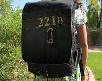 """SHERLOCK  """"221b Door"""" Canvas Backpack Bag"""