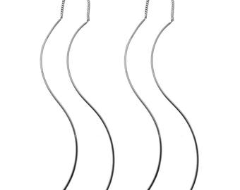 Sterling Silver Threader Earrings with S Curve