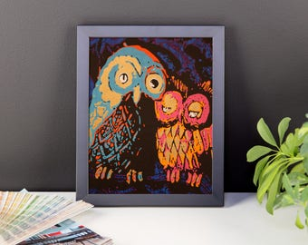 Psychedelic Owl Fine Art Print framed kids room wall decor nursery home dorm wall boho bohemian abstract print poster
