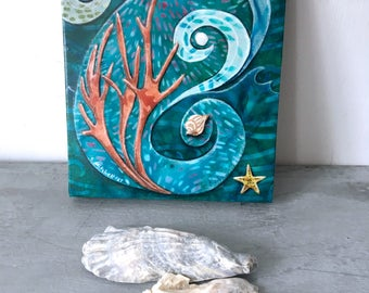 Original artwork, beach decor, gift for her, sea dreams, seashell, starfish, coral, shellieartist, home decor, mixed medium, teal blue