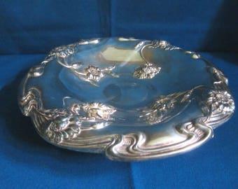 Antique Edwardian Ornate Quadruple Silverplate Blown Out Floral Bowl