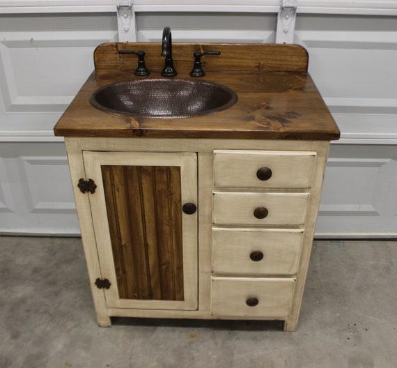 "Rustic Farmhouse Vanity - Copper Sink - 32""-  antique white - Bathroom Vanity - Bathroom Vanity with Sink - Rustic Vanity - Farmhouse Vanity"