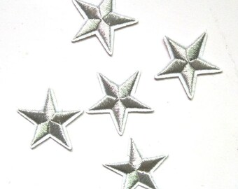 10 pc Silver Stars Shiny Embroidered Fabric Patch Applique SS040118 4.2CM
