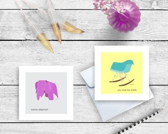 Eames Elephant Rocking Chair Card Art Print 5.25x5.25 matte cards and envelope