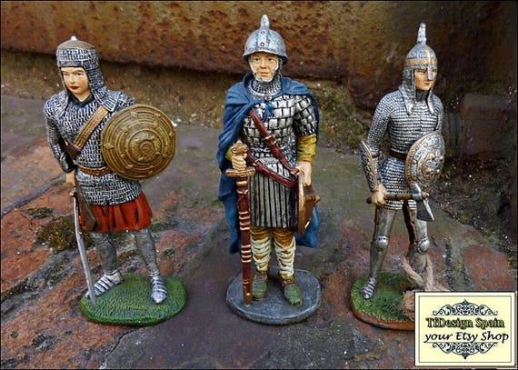 Guerreros medievales set de 3, Soldaditos medievales pintados a mano, Soldados metal, Soldados colección 11 cm, Guerreros colección  comprar