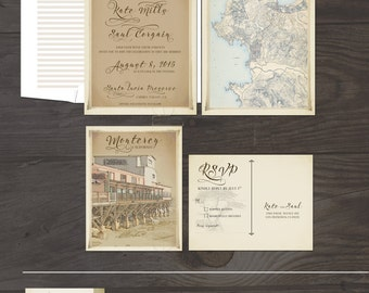 Monterey Carmel California with Bunting Flags  illustrated wedding invitation and RSVP postcard Destination wedding invitation - Deposit