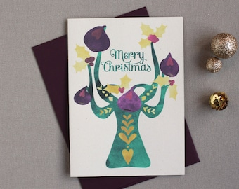 CLEARANCE!!! Folk Tree Holiday Cards : Figs Box of 8