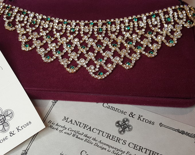 Jackie Kennedy Emerald and DIamonds Bib Necklace Camrose and Kross JBK Gold Plated Simulated Stones Box and Certificates