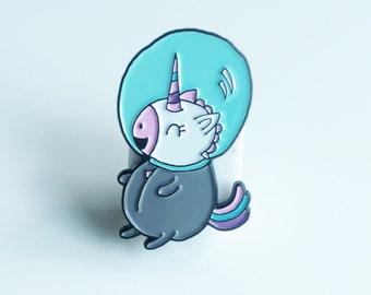 "Cute 1.5"" Space Unicorn Enamel Lapel Pin"