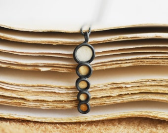 Desert Sand Necklace, Petite Small Pendant, White Tan Paper Jewelry