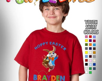 Hoppy Easter T-Shirt - Boys - Youth - Personlized with Name