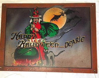 Happy Halloween ... Dearie - Vintage Faux Tin Sign