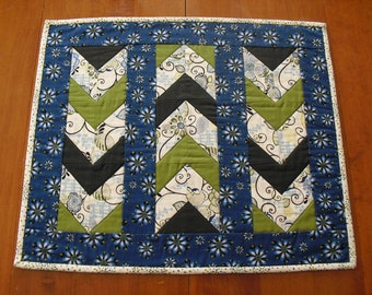 Quilted table topper green and blue