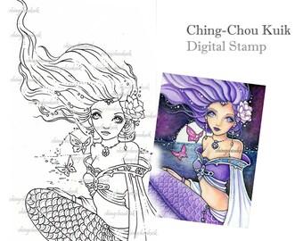 Sinking Moon - Digital Stamp Instant Download / Fantasy Kimono Mermaid Art by Ching-Chou Kuik