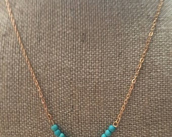 Turquoise & Gold Layering Necklace- Layering Necklace- Turquoise Layering Necklace- Layering Accessories- Layering Jewelry- Gold Jewelry-