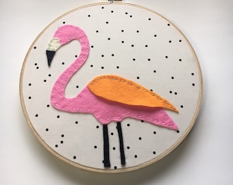 Embroidery Hoop Art, Wall Art, Pink Flamingo, Nursery room decor,  Black and White Polka dots