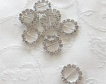 10 pcs Round Shape Rhinestones Buckle Sliders - Wholesale Rhinestone Crystals - Size 15mm - Invitation Ribbon Sliders, Invitation Deco