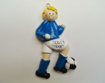 Personalized Soccer Player Boy Christmas Ornament - Custom Color Choice Uniforms - Personalized Free
