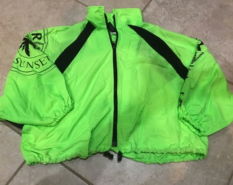 Vintage 90's Sunset Beach Neon Cropped Oversize Boxy Batwing Windbreaker Jacket M