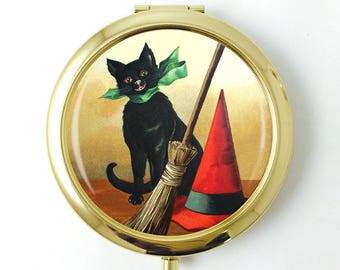 Halloween Gifts for Women, Black Cat compact mirror, Halloween Gift for Cat Lover, Black Cat Present, Gold Compact mirror, pocket mirror