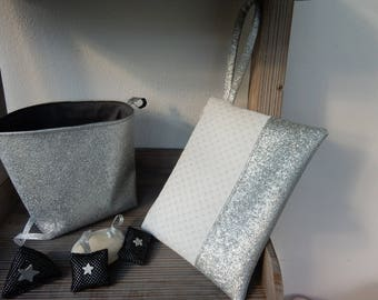 White faux leather clutch / silver