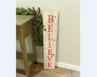 Medium Vertical Cream & Red Distressed Christmas 'Believe' Sign with Snowflakes, wood handpainte sign, christmas decorations