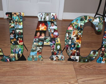 """Christmas Gift, Home Decor, 18"""" Wooden Letter or Number, Personalized Initial, Wall Hanging Photo Collage"""