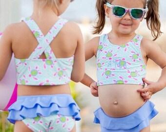 Girls Monogram Swimsuit, Turtle tide swim suit, Girls Bathing suit, Toddler swimsuit, Monogram bathing suit