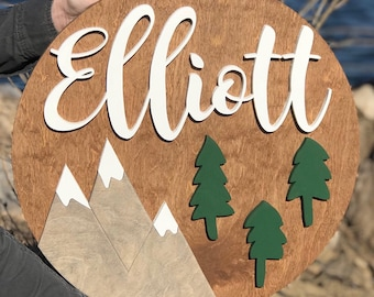 "18"" Round Sign WITH Mountains and Trees"