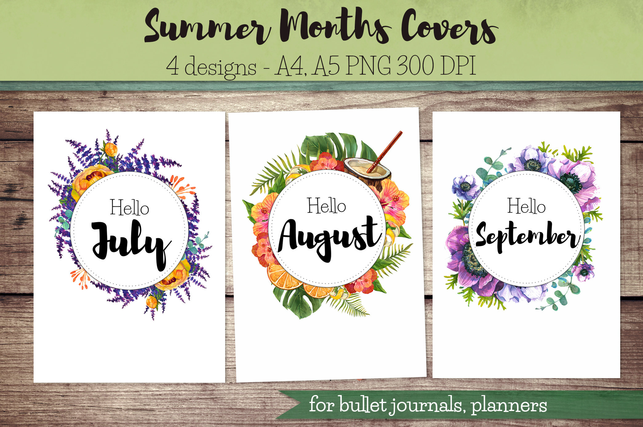 Summer Months Covers for Bullet Journal Planner / hello July