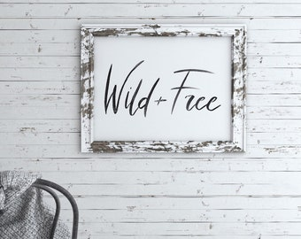 Wild and Free Decor, Black Watercolor Painting, Lettering Art, Adventure Wall Art, Hand Painted, Encouraging, Explore, Modern, Minimal Art