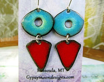 Bold Geometric Earrings Red Turquoise Boho Chic Enamel jewelry