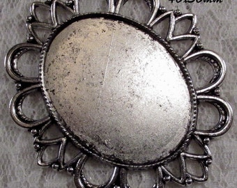 "40x30mm Antique Silver Setting - ""Enchantment III"" - 1 pc : sku 11.28.12.8 - T17"