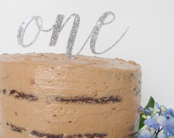Silver glitter perspex word birthday cake topper decoration