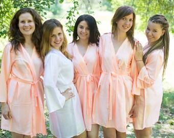Solid Peach Satin Silk Bridesmaids robes | Kimono Style getting ready robes wedding day wedding favors Bridesmaids gift Bridesmaid Robes