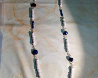 Long necklace made with ostrich egg beads and blue semi precious 2stones